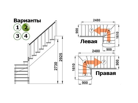 Лестница К-001м/2 (дуб и сосна)