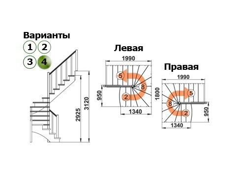 Лестница К-003м/4 (дуб и сосна)