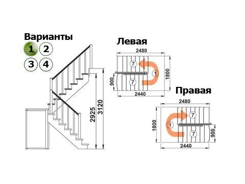 Лестница К-004м/1 (дуб и сосна)