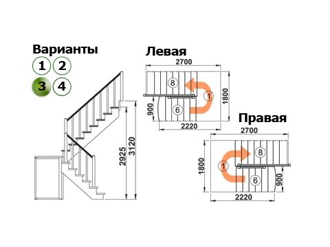 Лестница К-004м/3 (дуб и сосна)