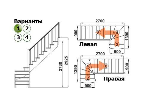 Лестница К-001м/1 (дуб и сосна)