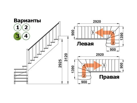 Лестница К-001м/3 (дуб и сосна)