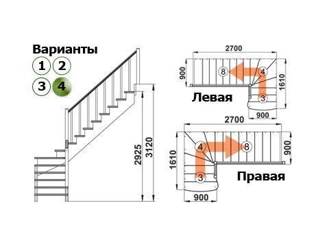 Лестница К-001м/4 (дуб и сосна)