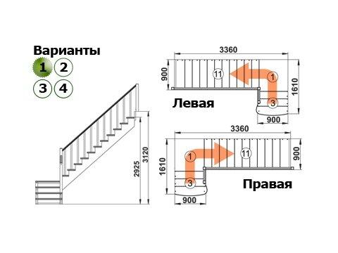 Лестница К-002м/1 (дуб и сосна)