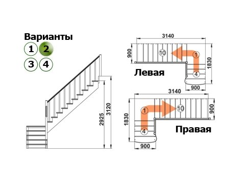 Лестница К-002м/2 (дуб и сосна)