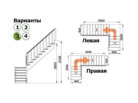 Лестница К-002м/3 (дуб и сосна)