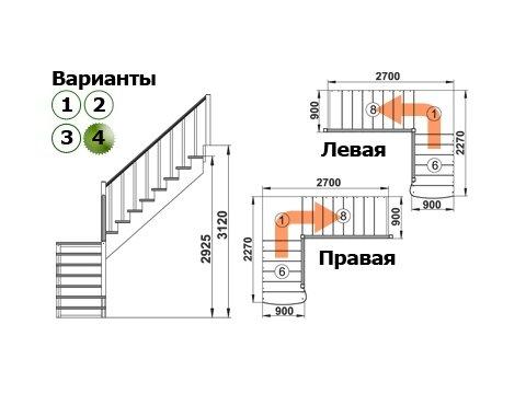 Лестница К-002м/4 (дуб и сосна)