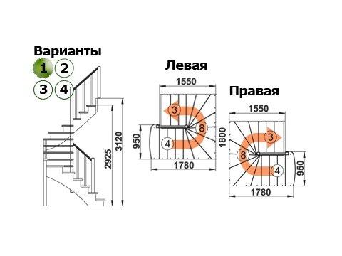 Лестница К-003м/1 (дуб и сосна)