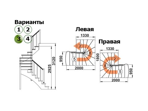 Лестница К-003м/3 (дуб и сосна)