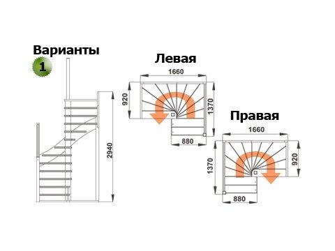 Лестница К-005м (дуб и сосна)