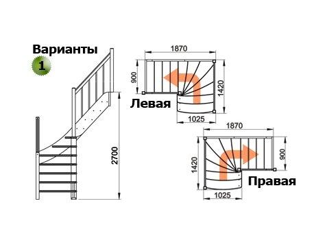 Лестница ЛС-09м (дуб)