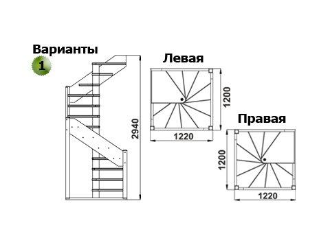 Лестница ЛС-1.2хм (дуб)