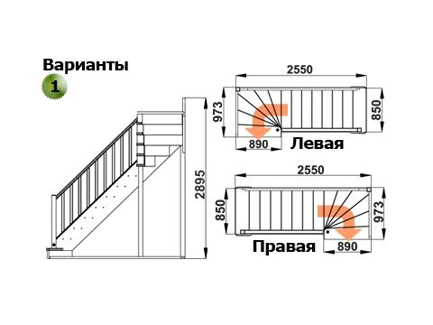 Лестница ЛС-215м (дуб)